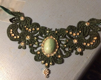 Dark Olive Green Lace choker