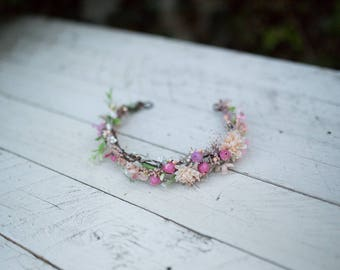 Romantic half wreath Flower hair wreath Handmade hair wreath  Floral half wreath Floral headband  Hair jewellery