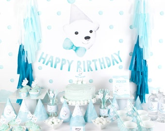 Polar Bear Party Pack - Watercolour Party Printables for first birthday with party backdrop, party pack PDFs for boys first birthday
