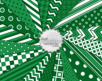Dark Green Digital Paper and Printable Background Images - Digital Christmas Green Scrapbook Paper Patterns - Instant Download (DP394A)