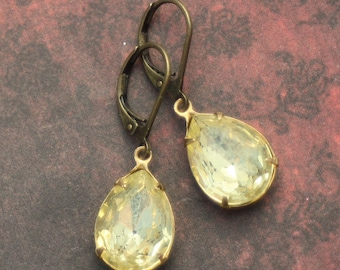Yellow Rhinestone Drop Earrings, Pale Yellow Rhinestones, Pear Shape, Weddings, Drop Earrings, Dangle Earrings