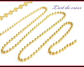 1 meter string beads balls gilded Gold - 2 mm