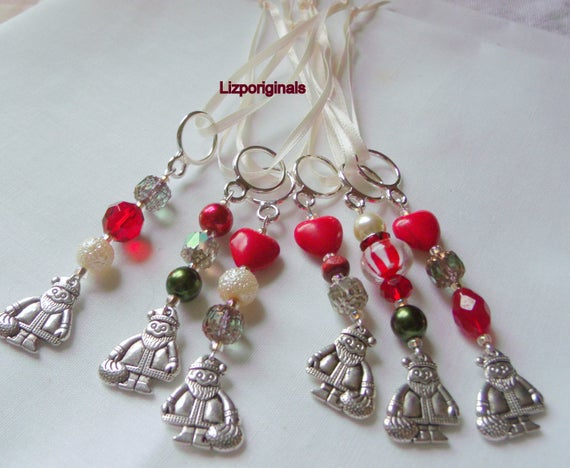 Miniature Ornaments -  Silver Santa charm favors - Holiday -  set of 3  gift add on -  green red  beaded accents - tree decor - Christmas