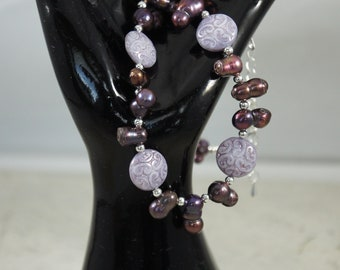 Freshwater Pearl Necklace, Czech glass bead necklace, Amethyst Earrings, Plum Necklace, Purple Jewelry, Free Shipping, Item #672
