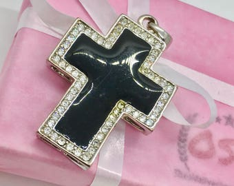 Silver cross pendant, Big cross pendant, black cross necklace charm, boxed cross, rhinestone cross pendant, religious jewelry, gift for her