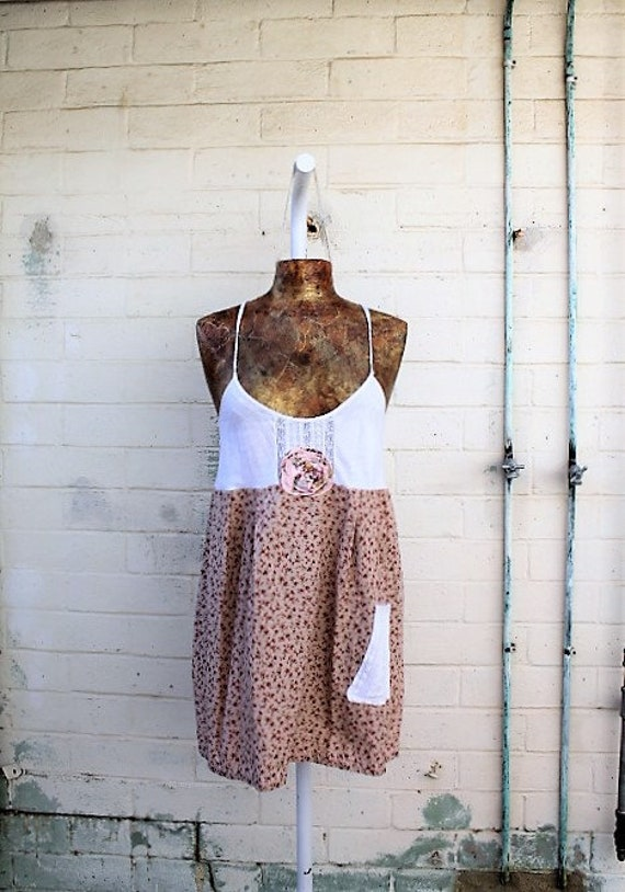 Large Ecru Babydoll Dress/Upcycled Clothing/Cotton Country Dress/Shabby Chic Dress/Cowpunk dress/Ecru Cream lace Gingham patch fairy dress