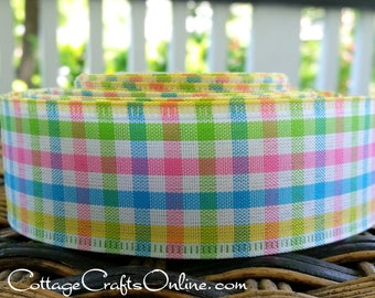 "Wired Ribbon 1 1/2"",  Pink, Yellow, Blue, Green White Gingham Check - TEN YARD ROLL -  Plaid Mini Check Spring, Summer Wire Edged Ribbon"