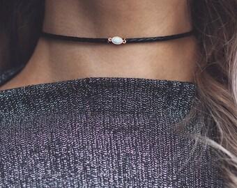 LEELA. White Opal Braided Leather Choker