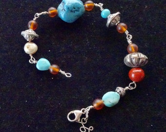 Silver Beaded Bracelet with Turquoise,Jasper, Pearl and Silver Beads