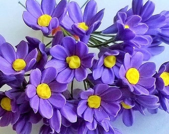 Miniature Polymer Clay Flowers Supplies Blue-Violet Daisy 12 stems