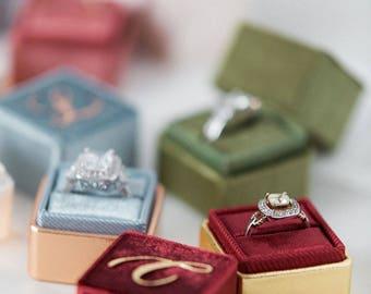 Shiny Velvet Ring Box - FREE MONOGRAM - Single slot - Handmade Vintage Style Antique Engagement Wedding Ring Proposals Styled Shoots Temple