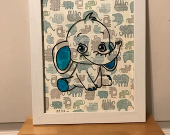 Baby Elephant - hand painted