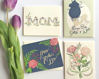 Mothers Day Card Floral - Pack of 4 Cards - Gift for Mom - Mother's Day Card - Floral Mothers Day - Mothers Day Gift - Happy Mothers Day