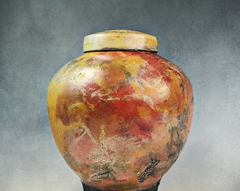 Orange Copper Ceramic Raku Urn, Keepsake Urn, Pet Urn