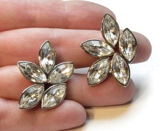 Avon Dazzling Rhinestone Marquise Earrings ~ Glamorous Hollywood Post Earrings ~ Silvertone - Vintage 1991