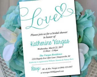 """Bridal Shower Invitation Template - Heart Wedding Shower Invitation - Luxe Blue """"Love"""" Script Bridal Luncheon Template - Instant Download"""