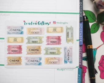 Cinema tickets - decorative watercolour planner stickers suitable for any planner -363-