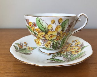 "Royal Standard ""Springs Gilt"" Vintage Teacup and Saucer, Yellow and Orange Hand Painted Flower Tea Cup and Saucer, English Floral China"