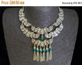 ON SALE Vintage Bib Necklace, High End Statement Jewelry, 1960's Mad Men Mod, Old Hollywood Glamour