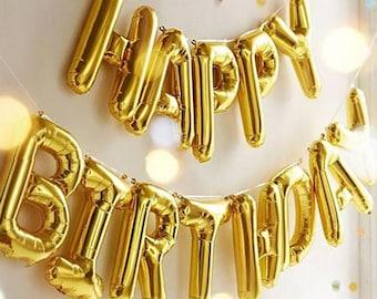 Giant HAPPY BIRTHDAY  Gold foil letter balloon  16