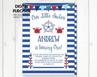 Nautical Birthday Invitation, Nautical Birthday Party Invitation, Our Little Sailor, Birthday Party Boy, Lighthouses,Blue, Printable No. 824
