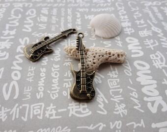 50pcs Antique Brass Metal Charms-Guitar charm--35x13x3mm--CP244