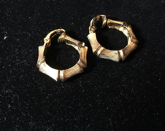 Vintage Gold Bamboo Clip On Earrings