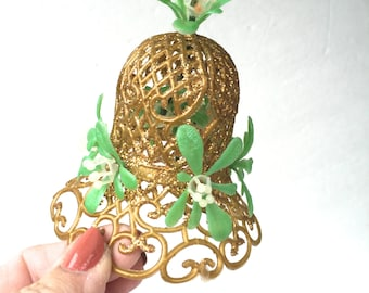 Mid-Century Gold Plastic Bell with Mistletoe