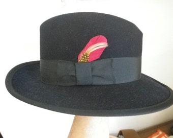 Fedora Hat Navy Blue Fedora Men's Hat Vintage 60s