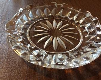 """Ashtray, cut glass flower burst design 6"""" across"""