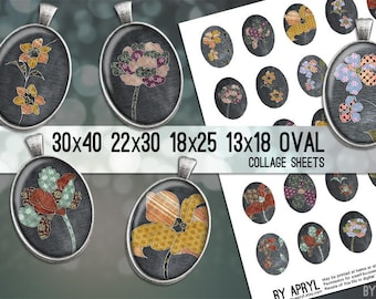 Digital Collage Sheet  30x40 22x30 18x25 13x18  Oval Fabric Flowers Images for Glass and Resin Pendants Cameos Paper Craft