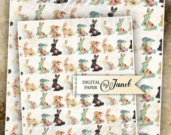 Bunnies Paper - Large Image - set of 2 sheet - Printable Wrapping Paper