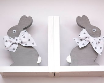 Bookends, Bunny Bookends, Rabbit Book Ends, grey Bunny, Gray bunny, hand cut and painted in USA.. 8 anti skid discs on the bottoms.