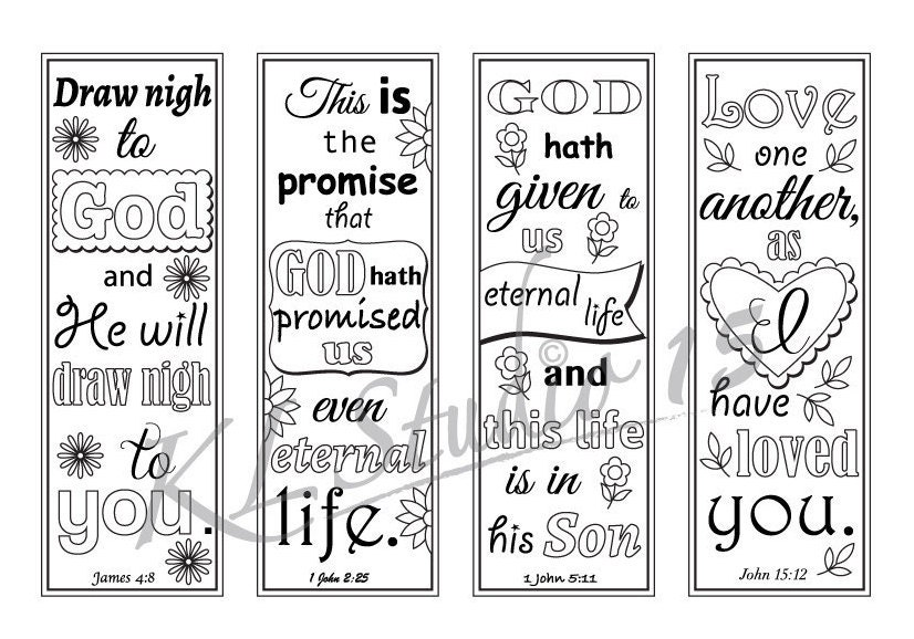 Bible Verse Coloring Bookmarks3 Instant Download