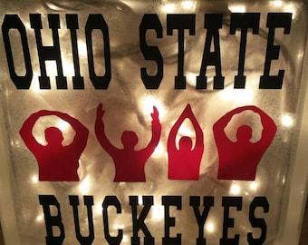 Ohio State Glass Block O-H-I-O, Ohio State Buckeyes, OSU Buckeyes, Lighted Glass Block, Brutus Buckeye, Ohio State University Light Block