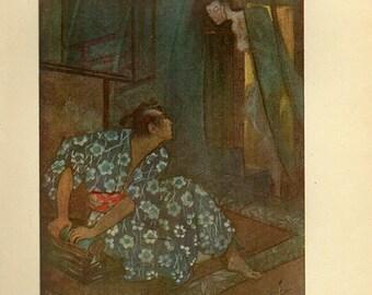 1912, A Kakemono Ghost, Japanese Myths Print, Japanese art print, 104 years old Japan, Asian