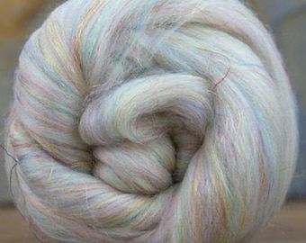 Merino Wool/Nylon Combed Top/Roving by the ounce - Opal Sparkle