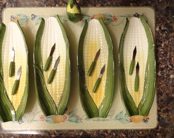 Vintage Ceramic Corn on the Cobb Holders with Corn Picks and Salt Shaker, Country Kitchen, Backyard Barbecue