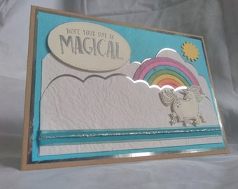 Stampin' Up! Rainbow Magical Day Unicorn Card.