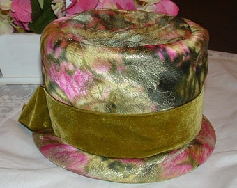 SALE SALE  Dajon Original Green and Pink Pillbox Hat with Metalic Silver flowers and green Velvet ribbon