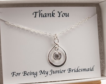 Infinity Necklace, Thank You Junior Bridesmaid Necklace Sterling Silver Infinity Pendant, April Birthstone Necklace April Birthday Necklace