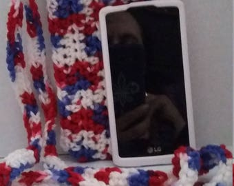 patriotic Cross body cell phone pouch crocheted patriotic