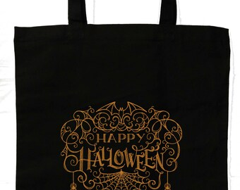 Happy Halloween Treat Bag | Embroidered Linen Halloween Bag