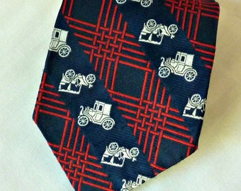 Mens Necktie  Antique Car Design Red, White, and Blue  Wide Tie 1970's