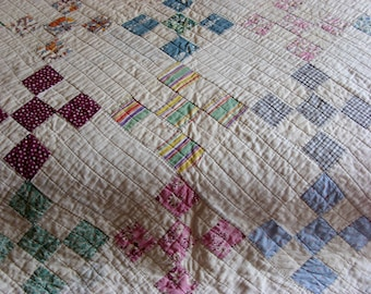 "Nine Patch Feedsack Hand Sewn Quilt Antique Nine Patch Pattern Hand Quilted Feed Sack Flour Sack 1930's Quilt 66"" x 80"""