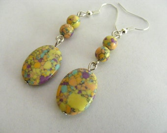 Mosaic Multicolored Turquoise Earrings Yellow Lilac Apricot