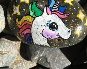 Rainbow Unicorn Painted Rock