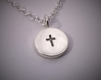 Circle Cross Necklace Pendant In Sterling Silver - Sterling Silver Cross Necklace, Sterling Silver Cross Pendant, Christian Necklace Pendant