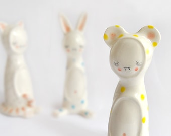 Little Vampire Figure of Ceramic, with his Bear Sleepwear with Yellow Polka Dots.Ready To Ship