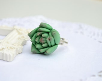 Green Succulent ring. Succulent Jewelry. Succulent ring. Rustic ring. Rustic jewelry. Planter ring
